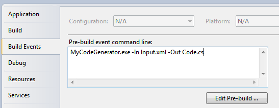 Some custom code generation being performed in a pre-build event in Visual Studio