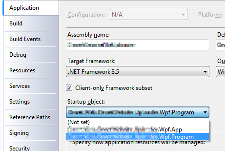 Figure 2. Select your program entry point